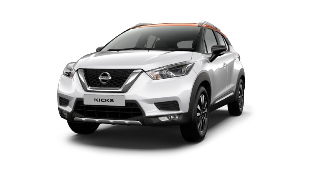 Nissan  Kicks Pearl White/Amber Orange Colour