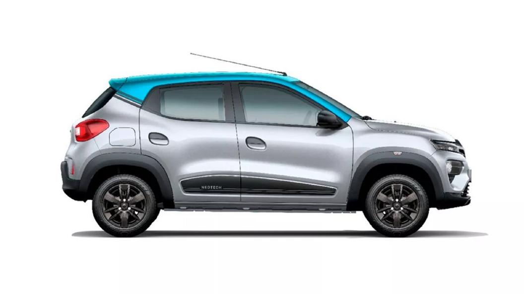 Renault  Kwid Moonlight Silver with Zanskar Blue Colour