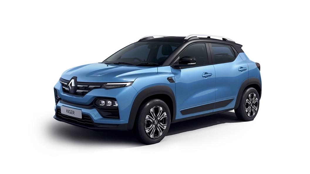 Renault  Kiger Caspian Blue with Black roof Colour