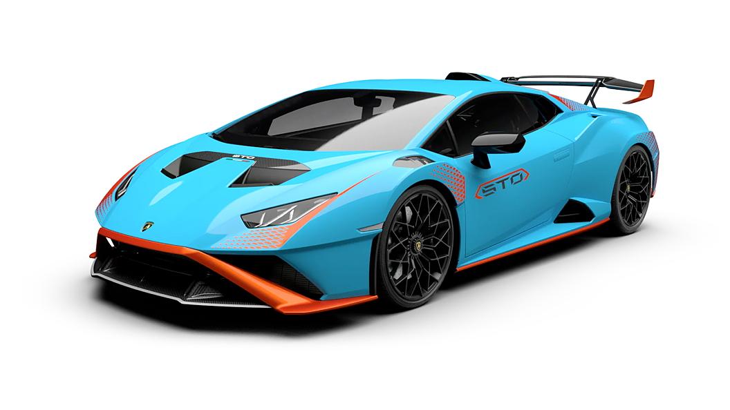 Lamborghini  Huracan STO Blu Laufey arancio Xanto Contrast Colour
