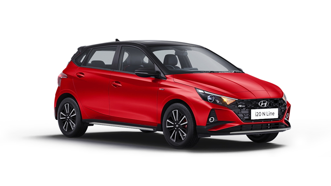 Hyundai  I20 N Line Fiery Red with Black roof Colour