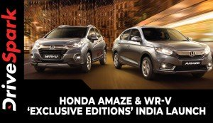 Honda Amaze & WR-V 'Exclusive Editions' India Launch | Prices, Specs, Features, Variants & Details