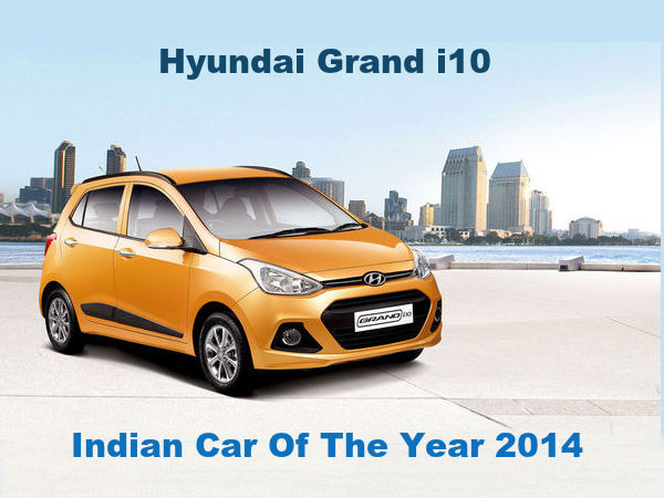 hyundai grand i10 wins indian car of the year award 2014 drivespark news. Black Bedroom Furniture Sets. Home Design Ideas