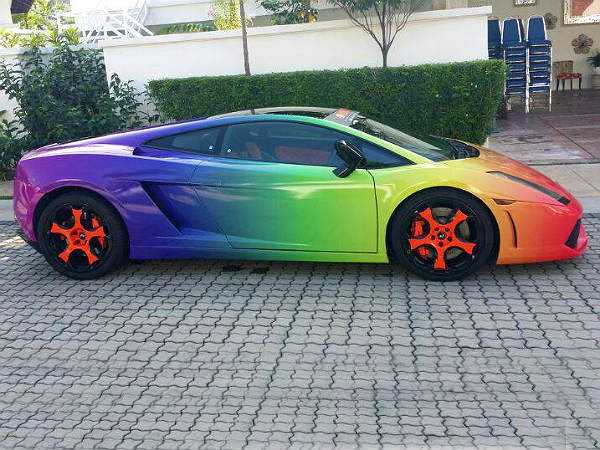 Rainbow Theme Lamborghini On Road Drivespark
