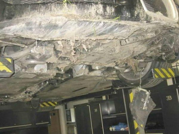 undercarriage of bugatti veyron sold after being wrecked