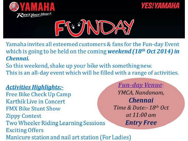 Yamaha India Organises Fun-Day Event On 18th October In Chennai details