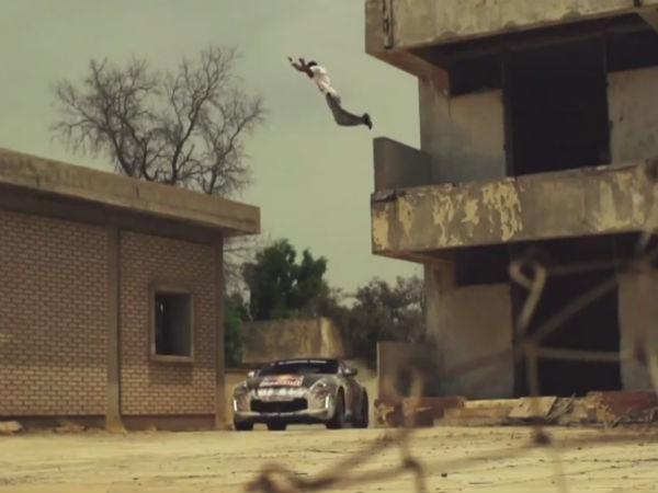 Rally Car Versus Free Runner In Kuwait