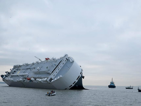ship carrying luxury cars stranded