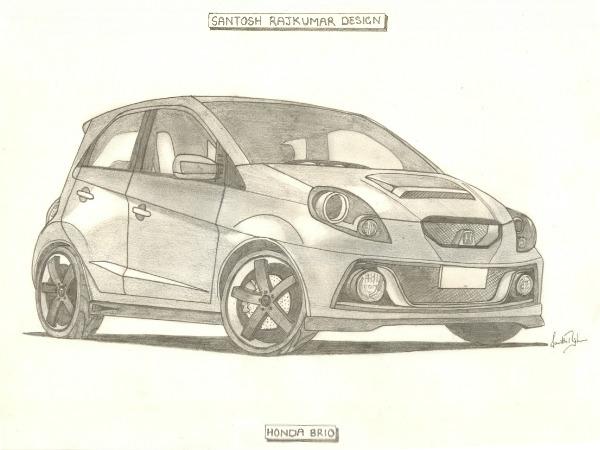 Illustration Custom Honda Brio Sketch Reveals Aftermarket