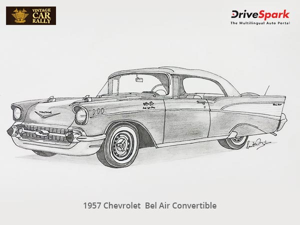 1957 chevrolet bel air convertible illustration