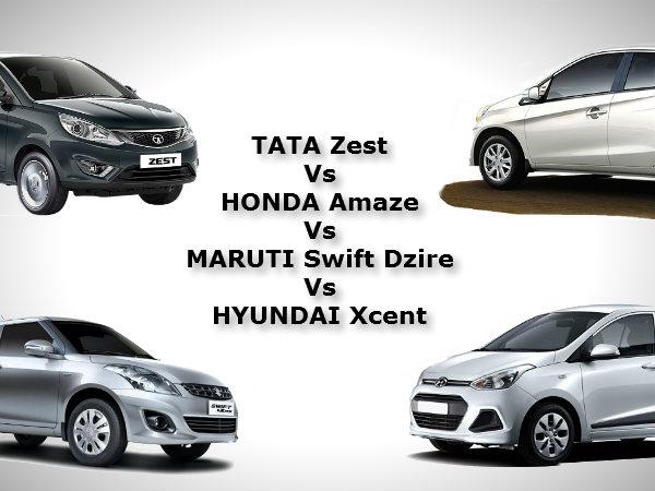 Tata Zest Vs Honda Amaze Vs Maruti Swift Dzire Vs Hyundai Xcent