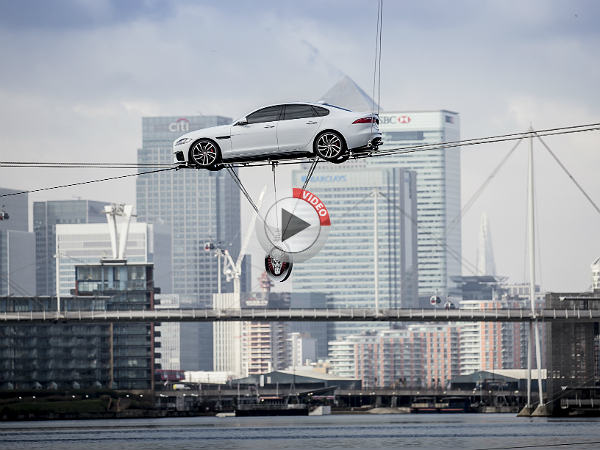 Jaguar Xf Performs High Wire Water Crossing Nothing Less Than Ordinary