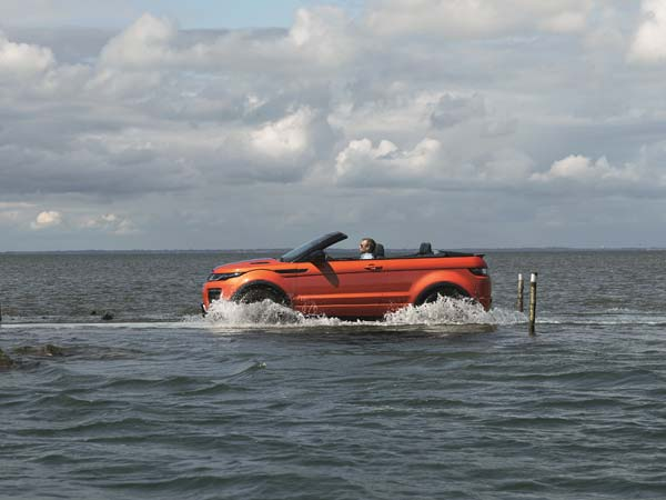 range rover evoque convertible on water