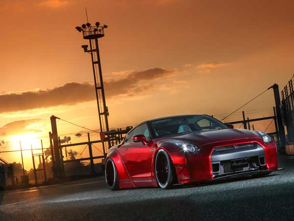 liberty walk nissan gtr sun set view