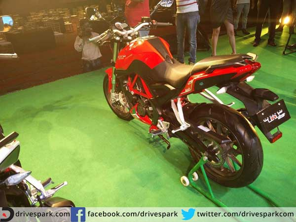 benelli tnt25 launched in india rear profile
