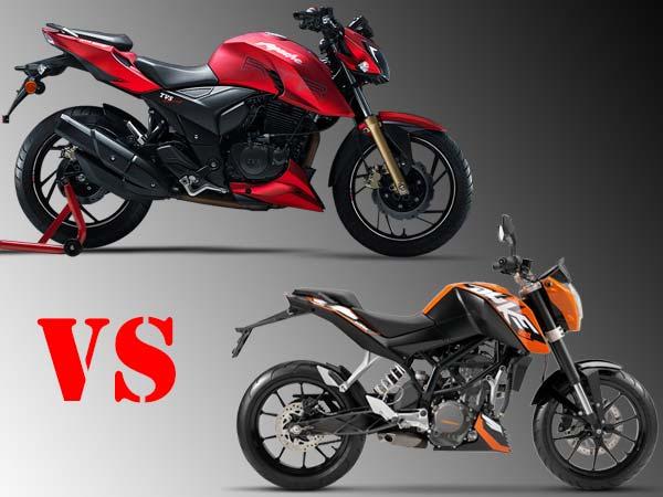 Comparison: TVS Apache RTR 200 Vs KTM Duke 200