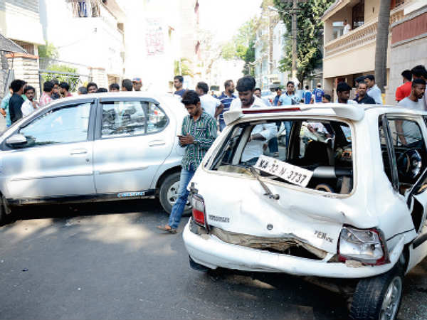 bangalore doctor accident damaged cars