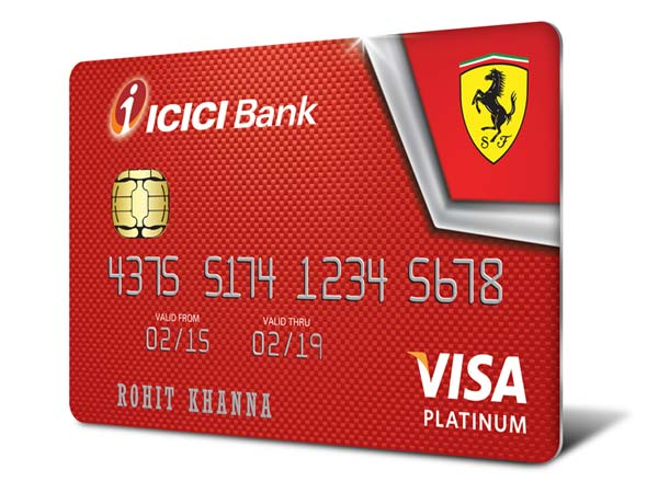 ferrari credit cards icici bank