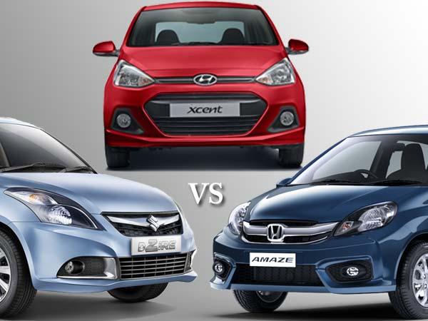 Honda Amaze 2016 Vs Swift Dzire Vs Hyundai Xcent Drivespark News