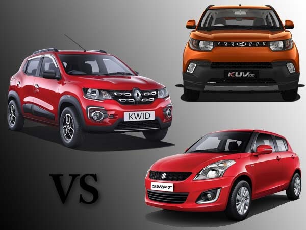 mahindra kuv100 vs renault kwid vs maruti suzuki swift comparison