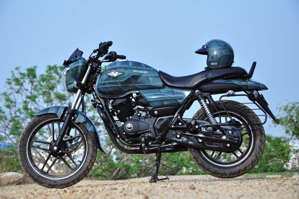 bajaj v15 motorcycle by eimor customs left profile with helmet