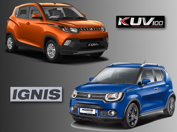 Maruti Ignis Vs Mahindra Kuv 100 Crossover Comparison