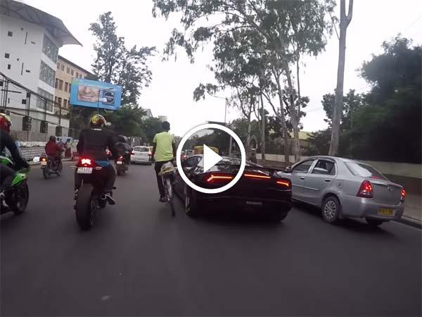 Lamborghini Huracan Has A Run In With A Cyclist In Bangalore