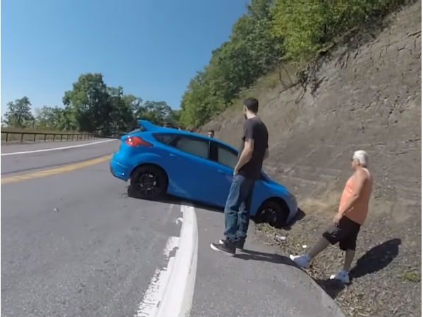 Watch This Driver Drift His Ford Focus RS Into A Wall