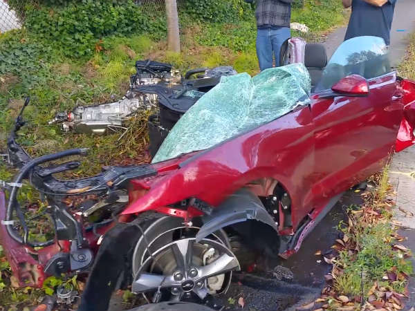 Rental Ford Mustang Splits In Two After Crash