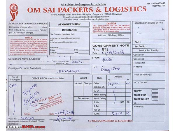 om sai packers and movers invoice
