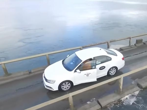 Uber Driver Battles The Rising Tide, Gets Caught