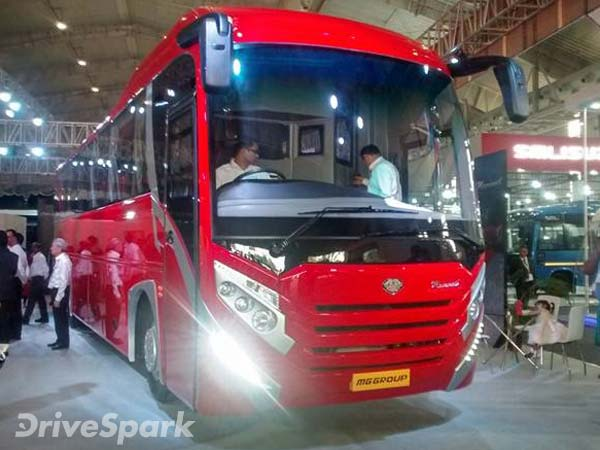 MG Group Unveils Columbus Tarmac Bus, Launches Mammoth At Bus World India 2016