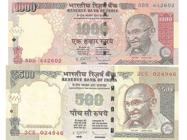 1000 and 500 rupee bank notes