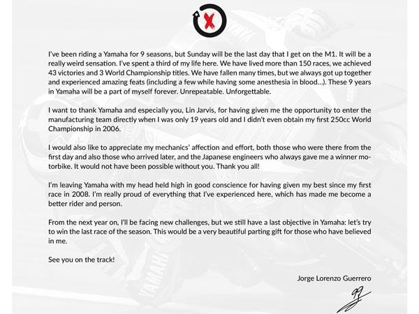 Jorge Lorenzo Says Goodbye To Yamaha DriveSpark – Goodbye Letter