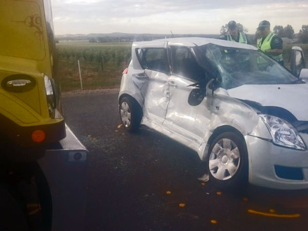 Suzuki Swift Crashes Into A Huge Road Train; Results Aren't Pretty