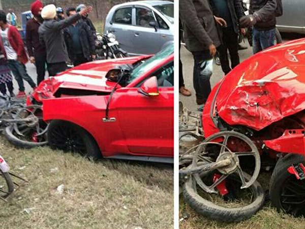 Ford Mustang Crashes Into Bajaj Discover In Chandigarh