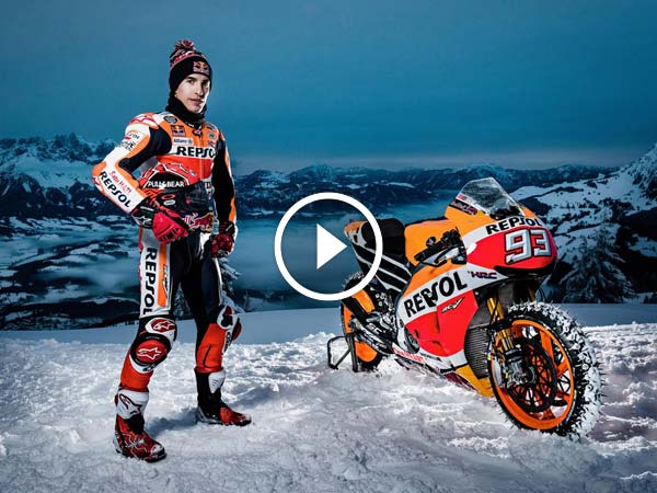 Video: Marc Marquez Rides His Honda MotoGP Bike Up A Ski Course