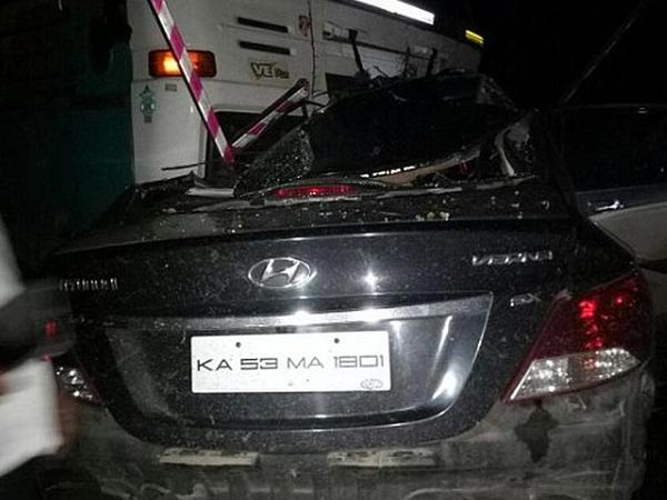 Hyundai Verna Crashes Into Truck Killing Four Students Inside It