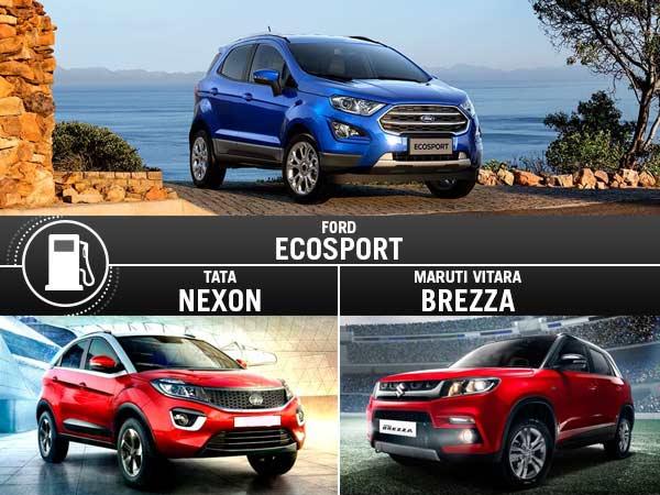 Ford Ecosport Facelift Vs Maruti Brezza Vs Tata Nexon Mileage Comparison Drivespark News