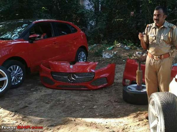 Modified Maruti Baleno Stripped To Stock By Police And RTO