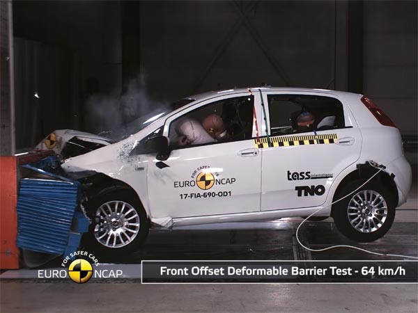 fiat punto scores zero rating at euro ncap crash test drivespark news. Black Bedroom Furniture Sets. Home Design Ideas