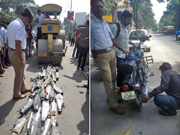 Traffic Cops Crush Royal Enfield Exhausts Under Road Roller — Effects Of Noise Pollution