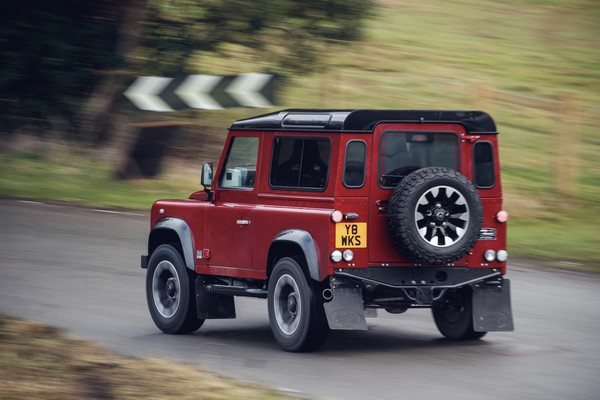 land rover defender works v8 rear three quarter