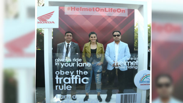 Auto Expo 2018: Taapsee Pannu launches #HelmetOnLifeOn Honda 2Wheelers India's Road Safety campaign