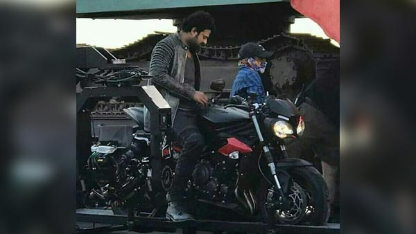 Actor Prabhas Spotted On A Triumph Street Triple RS During Movie Shoot