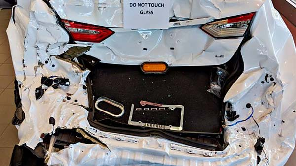 A Toyota Camry Crashed In Arizona, USA — Dealership Displays The Car To Showcase Its Safety