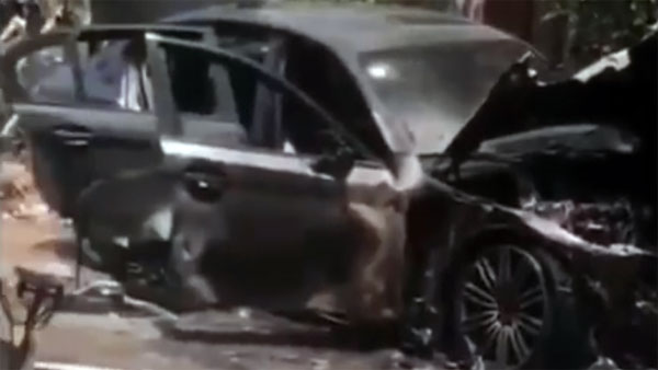 The Gods Were Not Pleased — BMW 5 Series Catches Fire Amidst Sacred Rituals