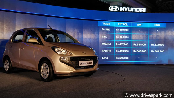 New Hyundai Santro Variants & Price Break-up