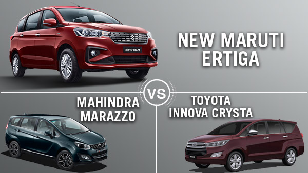Maruti Ertiga 2018 Vs Marazzo Vs Innova Crysta: Specifications, Design, Features & Other Details