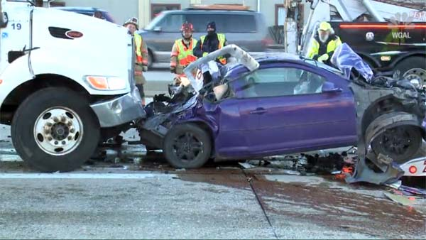 Car Gets Crushed Between A Truck & SUV But Drivers Walk Away Without Injuries